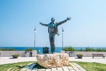 Domenico Modugno Statue In Polignano A Mare, Puglia, Italy