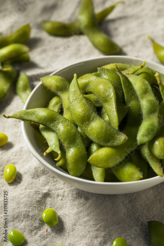 Cooked Green Organic Edamame Beans Canvas Print