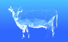 Low Polygon Cow Skeleton Grid On A Blue Background