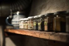 Various Spices In Jars At Home