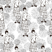 In The Style Of The 1920s.  Seamless Pattern With A Girl On A White Background With Pencils Drawn