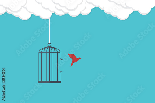 Flying bird and cage Canvas Print