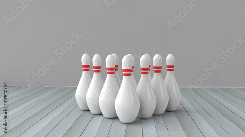 Skittles bowling pins 3d illustration. Bowling game Fototapet