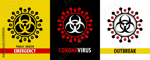 Obraz Coronavirus. Vector set of different icons and pictograms about epidemic outbreak. Original design. Biohazard symbol is inserted into spiked shape of new deadly virus. Alert and awareness stickers - fototapety do salonu