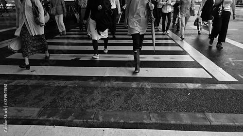 Fotografie, Tablou Low Section Of People On Zebra Crossing