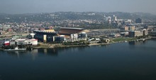 High Angle View Of Heinz Field Stadium By River