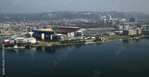 High Angle View Of Heinz Field Stadium By River Canvas Print