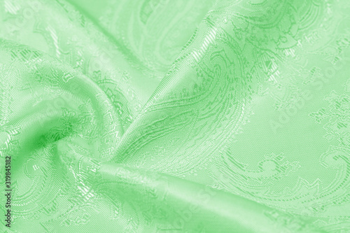 Valokuva Texture background Fabric silk green Slim and light, add it to your design, inspired by the runway