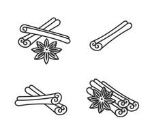 Cinnamon Set. Collection Icon Cinnamon. Vector