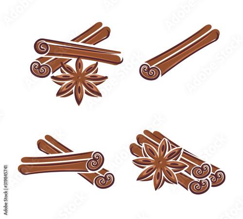 Cuadros en Lienzo Cinnamon set. Collection icon cinnamon. Vector