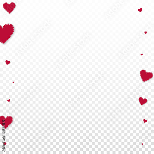 Photo Red heart love confettis. Valentine's day borders