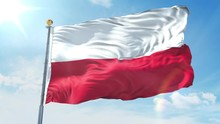 Poland Flag Waving In The Wind...