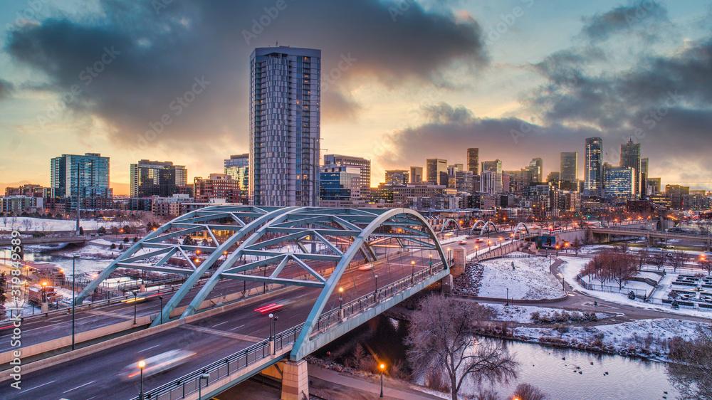 Fototapeta Denver, Colorado, USA Skyline Aerial