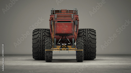 Modified carriage with giant tractor wheels, steampunk carriage, extreme tuning, Canvas-taulu