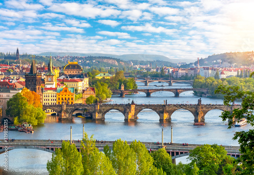 Obraz Prague cityscape with bridges over Vltava river at summer sunset, Czech Republic - fototapety do salonu