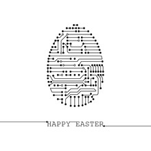 Greeting Card With Easter Egg Made Of Lines And Dots In Futuristic Stile. Happy Easter  Inscription. Technical Illustration Made For Banner/poster/postcard/web. Black And White. Vector Abstract Image