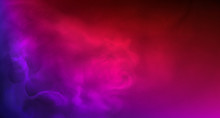 Colored Smoke. Realistic Fog In Neon Light. Splashes Of Purple, Blue And Pink Colors On Foggy Abstract Background. Space And Stars. Vector Stock Illustration. Purple Bursts Of Light.Copy Space.Banner