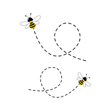 Bee Flying On A Dotted Route Isolated On The White Background