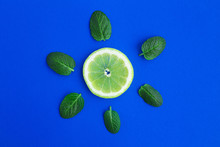 Piece Of Lemon And Mint Leaves...