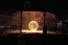 Wire Wool In Gazebo At Night