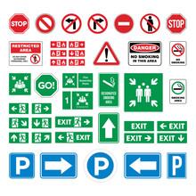 Set Street Sign, Evacuate Sign...