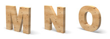 3D Letters M, N, O, Cut Out Of Wood