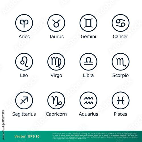Zodiac Symbol Set Icon Vector Logo Template Illustration Design EPS 10 Wallpaper Mural