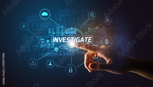 Foto Hand touching INVESTIGATE inscription, Cybersecurity concept