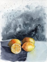 Watercolor Still Life Of Four ...