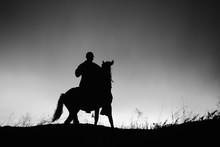 Silhouette Of Rider On Horseba...
