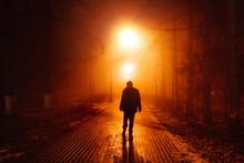 Sad Man Alone Walking Along Th...