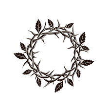 Jesus Crown Of Thorns With Leaves Image Isolated On White Background