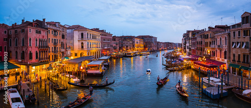 Venice canal panorama at night august 2019