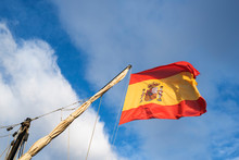 Spanish Flag Flying Above Old Pirate Ship In Port Of Torrevieja, Alicante, Spain 2019