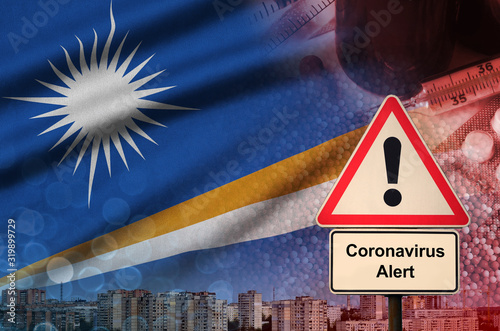 Marshall Islands flag and Coronavirus 2019-nCoV alert sign Canvas Print