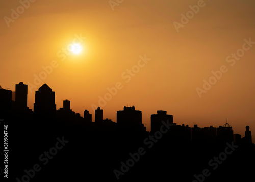 Fototapety, obrazy: SILHOUETTE BUILDINGS AGAINST SKY DURING SUNSET
