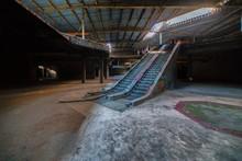 Escalators In Abandoned Shopping Mall