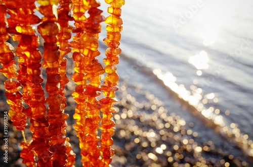 Close-Up Of Amber Necklace Fototapet