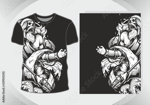 Photo t shirt design zeus sea lord,isolated,fully editable