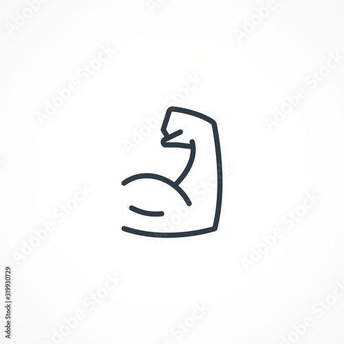 Foto Flexing bicep muscle arm strength or power line editable strok vector icon for exercise