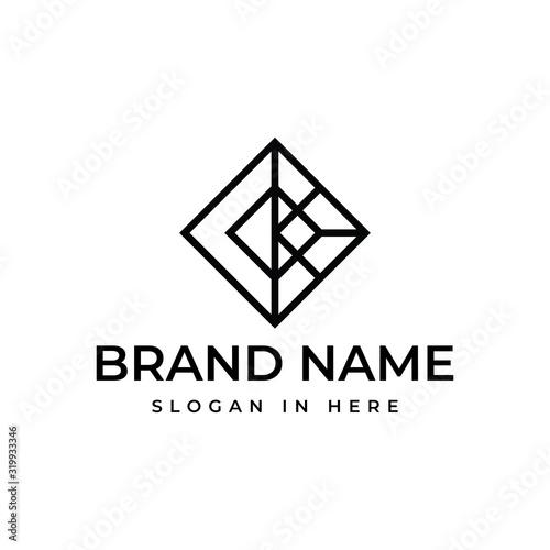 conner stone with line art style logo vector design illustration Fotobehang