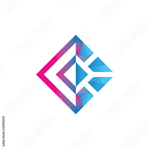 Slika na platnu conner stone with line art style logo vector design illustration