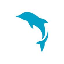 Simple Great Jumping Dolphin Logo Design Vector Illustrations