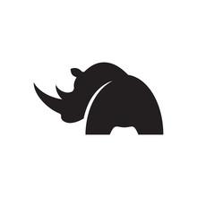 Simple Black Modern Rhino Logo Vector. Wilderness Strength Rhinoceros Logo Template