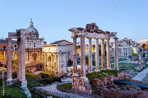 Obraz na plátně High Angle View Of Roman Forum Against Sky At Sunset