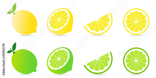 Fototapeta Collection set of fresh lemon and lime with green leaf and half slice pattern isolated on white background