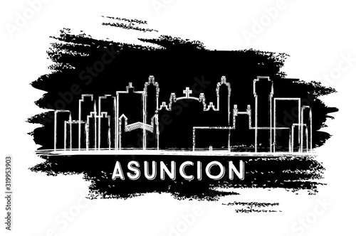 Photo Asuncion Paraguay City Skyline Silhouette. Hand Drawn Sketch.