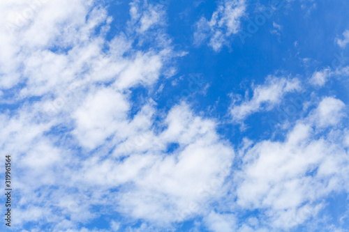 White altocumulus clouds layer in blue sky at daytime, natural background Canvas Print