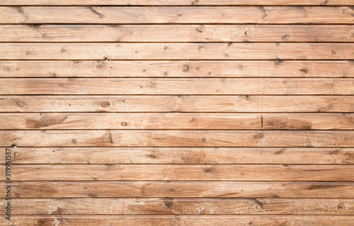 Fototapeta Wooden wall made of pine wood planks, flat background texture obraz