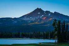 Mountain And Lakes And Kayaker